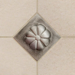"""2"""" Aluminum Wall Tile with Flower Design - This whimsical floral design is perfect for an eclectic kitchen or bathroom.  Mix several throughout your tile work for a charming look that is sure to add character to any home."""