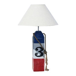 Buoy Lamp- Red/White/Blue - Shop Decorative Nautical Buoy Lamps at Coastal Style Gifts!