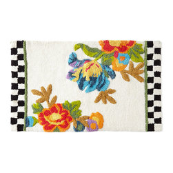 """MacKenzie-Childs - Flower Market Bath Mat - FLORAL - MacKenzie-ChildsFlower Market Bath MatDesigner About MacKenzie-Childs:Established in 1983 MacKenzie-Childs combines vibrant colors and patterns to create a whimsical collection of tableware furniture and decorative accessories that epitomize """"tradition with a twist."""" The company's designers draw inspiration from the pastoral setting of their studios located on a 65-acre former dairy farm in Aurora New York."""