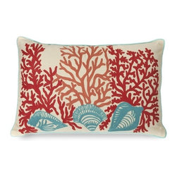 IMAX CORPORATION - Tyden Shells and Coral Pillow - Featuring embroidered coral and shell accents, this 100% cotton pillow adds a playfulness to any coastal inspired room. Filled with sylconized polyfill. Find home furnishings, decor, and accessories from Posh Urban Furnishings. Beautiful, stylish furniture and decor that will brighten your home instantly. Shop modern, traditional, vintage, and world designs.