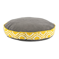 "Passion Suede Charcoal 53""  Pet Bed W/ Nichole Yellow Band - Passion Suede Charcoal 53"" Round Pet Bed with Nichole Yellow Band with Duck Yellow Top cording"