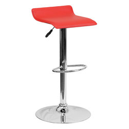 "Flash Furniture - Contemporary Red Vinyl Adjustable Height Bar Stool with Chrome Base - This sleek dual purpose stool easily adjusts from counter to bar height. The backless design is casual and contemporary which allow it to seamlessly accent any area in the home. The easy to clean vinyl upholstery is perfect when being used on a regular basis. The height adjustable swivel seat adjusts from counter to bar height with the handle located below the seat. The chrome footrest supports your feet while also providing a contemporary chic design. Counter Height or Bar Stool; Backless Design; Red Vinyl Upholstery; Swivel Seat; Height Adjustable Seat with Gas Lift; Foot Rest; Chrome Base; Base Diameter: 17.625""; CA117 Fire Retardant Foam; Designed for Residential Use; Overall dimensions: 15""W x 15""D x 25.5"" - 34""H"