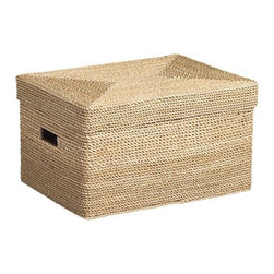 Kendal Large Lidded Tote - These lidded woven baskets with handles are a very pretty way to stash toys, books, games, DVDs, electronic equipment, and that pile of junk on the coffee table that needs to be hidden quickly when company comes over.