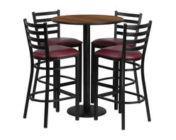 Flash Furniture - Flash Furniture Restaurant Furniture Table and Chairs X-GG-8201BRSR - 30'' Round Walnut Laminate Table Set with 4 Ladder Back Metal Bar Stools - Burgundy Vinyl Seat [RSRB1028-GG]