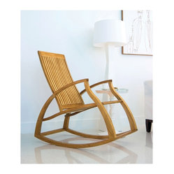 Westminster Teak Furniture - Aria Modern Contemporary Luxury Teak Rocking Chair - Solid as a rock, this chair is expertly crafted of Grade A plantation-grown teak. Rated Best Overall by the Wall Street Journal, it will keep you sitting pretty year after year.
