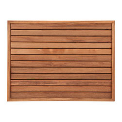 "Teakworks4u - Plantation Teak Mat with Narrow Frame (27"" x 20"") - Naturally mold and mildew proof due to its high oil content, this bath mat will serve you in style for years to come. The inherent beauty of teak is sure to complement your bathroom accessories and create a perfect decorative accent. Naturally high silica content makes this piece incredibly slip resistant. Crafted with quality wood, countersunk screws and rubber footing to protect your floors, this teak mat is nothing short of an investment. Proudly made in the U.S.A."