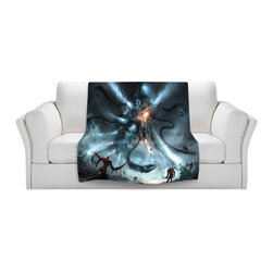 DiaNoche Designs - Throw Blanket Fleece - Mech Dragon Battle - Original Artwork printed to an ultra soft fleece Blanket for a unique look and feel of your living room couch or bedroom space.  DiaNoche Designs uses images from artists all over the world to create Illuminated art, Canvas Art, Sheets, Pillows, Duvets, Blankets and many other items that you can print to.  Every purchase supports an artist!
