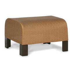 Thos. Baker - moderne ottoman - Virtually an entire new category of outdoor furniture, moderne collection seating features premium, all-weather N-dura® wicker woven over reticulated (rapid water-shedding) foam.  The foam is sandwiched between the wicker and a powder-coated aluminum subframe providing comfort and support without the expense or inconvenience of separate cushions.