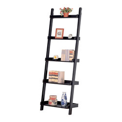 Coaster - Black Mahogany Ladder Bookcase - This ladder bookcase offers five shelves and a sleek,contemporary design. Finished in black,it will be a welcomed addition to your home decor.