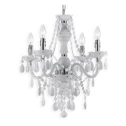 Kathy Kuo Home - Zoe Global Bazaar Opaque White 4 Light Mini Chandelier - A fun, alluring piece of bohemian style, this petite, white chandelier gives high style in simple materials.  Who knew plastic could look so good?  Dripping in teardrops and swag, this  piece delivers a delightful, strong statement.