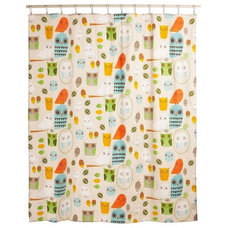 Eclectic Bath Products Shower Power Shower Curtain in Owl Clean