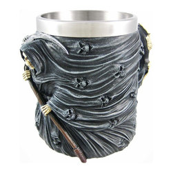 Zeckos - Grim Reaper Souls Tankard Stein Drinking Gothic - This cool Gothic style drinking tankard, made by Nemesis Now, features a grim reaper absorbing dozens of souls into himself, with a skeleton hanging on to the handle. The removable stainless steel inner liner keeps your drink cool, and unscrews easily for cleaning. The tankard measures 4 7/8 inches tall, and the base is 4 inches in diameter (6 inches wide with the handle). It holds 12 ounces of your favorite beverage, and is made of cold cast resin. This tankard is brand new, never used. It makes a great gift for family and friends. We have a limited supply of these, so don't delay. Get yours now