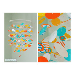 Mobiles - Fun in the sun was the inspiration behind this one-of-a-kind mobile! The bright orange, yellow, white and turquoise dots are complimented by turquoise chevrons and orange stripes. Perfect for your gender neutral nursery or kids room!