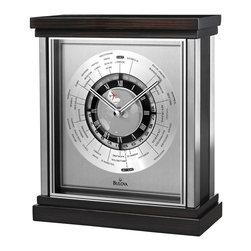 BULOVA - Bulova Wyndmere Executive Desk Clock - Wood case, ebony veneer pattern with mahogany stain.