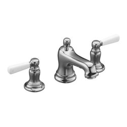 KOHLER - KOHLER K-10577-4P-CP Bancroft Widespread Bathroom Sink Faucet - KOHLER K-10577-4P-CP Bancroft Widespread Bathroom Sink Faucet with White Ceramic Lever Handles in Polished Chrome