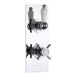 Hudson Reed - Beaumont Traditional 1 Outlet Twin Shower Valve With Slim Plate & Ceramic Lever - The Beaumont twin thermostatic shower valve with slim trim plate from Hudson Reed features traditional style handles for a timeless look to your bathroom. This shower valve supplies water at a pre-set temperature to either a fixed shower head, shower handset or tub filler. Made in Great Britain from brass with a chrome finish, this high quality thermostatic shower valve incorporates ceramic disc technology and an anti-scald device for a safer showering experience.