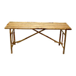 Bamboo54 - Long Folding Table - Enhance your home dcor with this beautiful and unique Long Folding Table. You can use this convenient folding bamboo table for tropical dining in an enclosed patio or sun room! It measures 63 in.  long, providing plenty of room for seating or serving. It is handcrafted with refined and pressed bamboo and the design is appealing simple, putting the focus on the natural textural appeal and color of the bamboo. The Long Folding Table is also collapsable, making for simple storage when not in use. Makes this bamboo table part of your tropical theme party or enhance any room all year round!