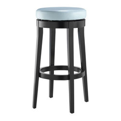 Home Decorators Collection - Backless Swivel Bar Stool - Our Backless Swivel Bar Stools boasts clean lines and a beautiful seat to seamlessly fit into your decor. Add a few barstools at the bar in your kitchen so that family and friends always have a place to sit. Or use them in a recreation room when entertaining as extra seats. You'll love the versatility of these stools so order yours now. Solid wood construction. Leather seat completes the look. Expertly crafted for years of use.
