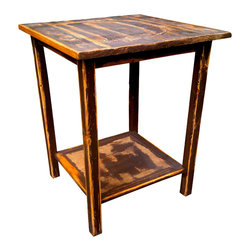 Bezaleel Orthodox Workshop - Rustic Unique End Table - Rustic end table. One of a kind. High quality. New wood, unique details.  Family recipe natural wood finish. Special prepared natural mineral paint. Unique piece of art.