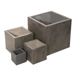 """Hart Concrete Design - Indo Pot in Iron, 24"""" - The Indo Pot is handmade to order by Hart Concrete Design in the United States. Featuring a classic cube design these pots make a great feature piece Indoor or Out."""