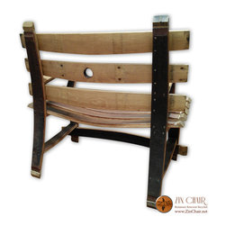 Zin Bench - Wine Barrel Benches (Rear Photo) - By Zin Chair - Wine Barrel Bench - Outdoor Furniture in Ventura County CA - http://www.zinchair.net/wine-barrel-furniture/bench/