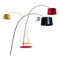 Foscarini - Foscarini Twiggy Floor Lamp - The Twiggy floor lamp is created from a compound material on a lacquered fiber-glass base.  This fixture is available in four colors: white, black, yellow and red.  The lamp height can be adjusted by utilizing an optional stem set.  Standard lamp does not include any stem sets, the tall lamp includes one stem set, and the extra tall lamp includes two stem sets.  Lamp requires three 100W E26 medium type A19 frosted incandescent bulbs.  Dimmer included.  UL listed.  Manufactured by Foscarini.Designed in 2006.