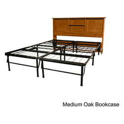EpicFurnishings - DuraBed Full-size Steel Folding Platform Bed with Wood Bookcase Headboard - The heavy-duty full-size platform bed is a sturdy and heavy-duty steel product that will provide comfortable support for years to come. Available in four finishes, this bed is accompanied by a convenient and handsome wood bookcase headboard.