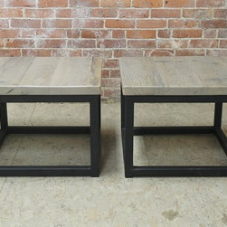 Custom steel base end tables - Made by http://www.ecustomfinishes.com