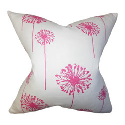 """The Pillow Collection - Dandelion Floral Pillow Pink 18"""" x 18"""" - Match your bed, sofa or chair with this chic accent pillow. This throw pillow delivers a polished look to your living room or bedroom with its lovely floral pattern in pink. This square pillow features a versatile design which mixes well with various decor styles and settings. Constructed with 100% soft and cushy cotton fabric. Hidden zipper closure for easy cover removal.  Knife edge finish on all four sides.  Reversible pillow with the same fabric on the back side.  Spot cleaning suggested."""