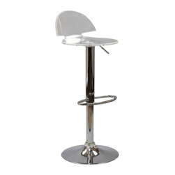 Modway - Modway EEI-534 Translucent Bar Stool in Clear - Proliferate unbridled growth with the Translucent Mushroom Acrylic Bar Stool. Mushroom takes you further with a design that escapes the eye and allows space itself to fill your seating experience. Supported by a chrome plated height adjustable stand and foot ring, enjoy the sights in a room immersed in clarity.