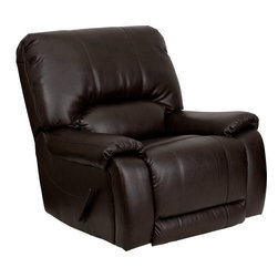 Flash Furniture - Overstuffed Brown Leather Lever Rocker Recliner - This motion recliner will provide you comfort with the added bonus of the rocking feature. The rocker recliner can not only be used in the living room/ but makes for a great nursery chair. The gentle back and forth rocking is soothing to both babies and adults. This recliner features thick cushion padding to relax while watching a movie/ reading a good book or doing nothing! The durable microfiber upholstery is not only soft and adds a clean appearance/ but is easy to clean.