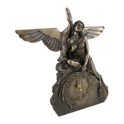 Bronzed Art Deco Lady and Swan Clock Leda and the Swan - This beautiful bronzed statue is also a clock, and is a wonderful addition to any home or office. It depicts a scene from a story in Greek mythology in which the god Zeus seduced Leda in the form of a swan. Made of cold cast resin, it measures 10 inches tall, 10 1/4 inches long, 2 1/2 inches wide, with the clock face measuring 3 inches in diameter. The clock features quartz movement and runs on 1 AA battery (not included), and the bottom of the base is lined with felt to prevent it from scratching delicate furniture. The bronzed finish is accented by subtle hints of color, and makes the piece look like metal. It makes a great gift for mythology buffs, and is sure to be admired.