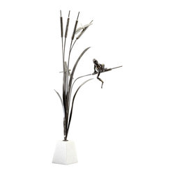 Cyan Design - Frog And Dragonfly Sculpture - Frog and dragonfly sculpture - old world.