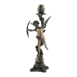 US - 11.75 Inch Bronzehued Candle Holder Greek Cupid with Right Hand Bow - This gorgeous 11.75 Inch Bronzehued Candle Holder Greek Cupid with Right Hand Bow has the finest details and highest quality you will find anywhere! 11.75 Inch Bronzehued Candle Holder Greek Cupid with Right Hand Bow is truly remarkable.