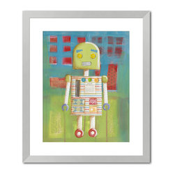 "Gallery Direct - ""Candy Bot I"" Print with Silver Frame 24""X27"" - Vanessa Roeder's love for art began at a very young age. When asked what she wanted to be when she grew up, her career plan changed every week, but it always had something to do with art. She eventually found her niche painting murals, and did so for four years until the birth of her second child prompted her to stay at home full time. She began to work as a freelance artist painting children�s art and illustrating picture books under the name of Nessa Dee. Her artwork is created with a variety of media including acrylic, watercolor, and collaged elements. Vanessa lives near Austin, Texas with her husband, three children, and one rambunctious dog.�"