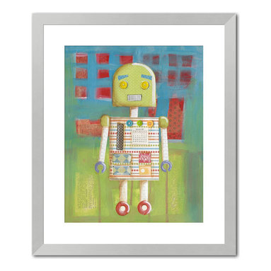 """Gallery Direct - """"Candy Bot I"""" Print with Silver Frame 24""""X27"""" - Vanessa Roeder's love for art began at a very young age. When asked what she wanted to be when she grew up, her career plan changed every week, but it always had something to do with art. She eventually found her niche painting murals, and did so for four years until the birth of her second child prompted her to stay at home full time. She began to work as a freelance artist painting children�s art and illustrating picture books under the name of Nessa Dee. Her artwork is created with a variety of media including acrylic, watercolor, and collaged elements. Vanessa lives near Austin, Texas with her husband, three children, and one rambunctious dog.�"""