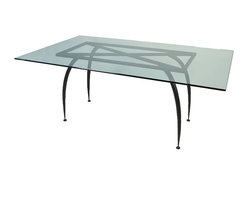 """Mathews & Company - Pinnacle Rectangle Table Base only for 42""""x72"""" Top - This modern Pinnacle Rectangle Table Base only for 42""""x72"""" Top allows you to use your own table top such as granite, custom wood, stone, or glass. Pictured in Black finish."""