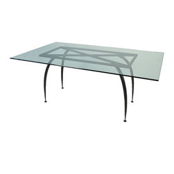 "Mathews & Company - Pinnacle Rectangle Table Base only for 42""x72"" Top - This modern Pinnacle Rectangle Table Base only for 42""x72"" Top allows you to use your own table top such as granite, custom wood, stone, or glass. Pictured in Black finish."