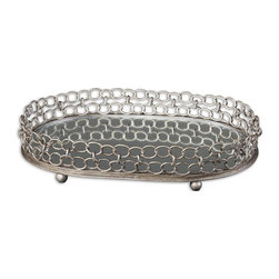 Matthew Williams - Matthew Williams Lieven Decorative Tray X-07691 - Mirrored tray with heavily antiqued, silver champagne metal details.