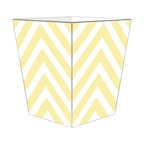 """Marye Kelley - Marye Kelley Butter Chevron Decoupage Wastebasket with Optional Tissue Box, 12"""" - This is a handmade decoupage wastebasket with optional tissue box.  All items are handmade in the USA.  There are three different styles available.  There is the 12"""" Fluted Tin Design, the 11"""" Square Design with a flat top or the 11"""" Square design with a scalloped top.  Coordinating tissue boxes may also be made. Please note all items are custom made and may not be returned."""