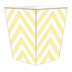 "Marye Kelley - Marye Kelley Butter Chevron Decoupage Wastebasket with Optional Tissue Box, 12"" - This is a handmade decoupage wastebasket with optional tissue box.  All items are handmade in the USA.  There are three different styles available.  There is the 12"" Fluted Tin Design, the 11"" Square Design with a flat top or the 11"" Square design with a scalloped top.  Coordinating tissue boxes may also be made. Please note all items are custom made and may not be returned."