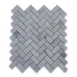 "Stone Center Corp - Calacatta Gold Marble Herringbone Mosaic Tile 1 x 2 Polished - Calacatta gold marble 1"" x 2"" pieces mounted on 12"" x 12"" sturdy mesh tile sheet"