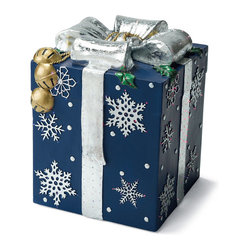 Blue Fiber-optic Gift Box - Frontgate - Outdoor Christmas Decorations