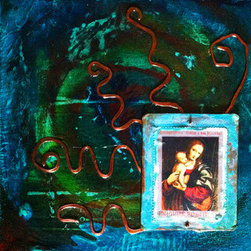 """""""Magyar Mary & Jesus"""" (Original) By Michael Bond - This Painting Is Based On A Hungarian Postage Stamp Featuring A Painting Of Mary And Jesus. The Work Incorporates The Actual 1960 Stamp With Hammered And Distressed Copper And Copper Wire."""