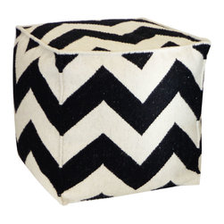 JITI - Zigzag Black Ottoman - Who knew a simple cube could do so much? This stylish wool cube ottoman can serve as a seat, table or footrest, and its snazzy zigzag print will coordinate handsomely with your contemporary decor.