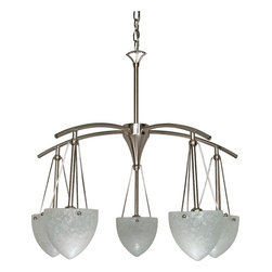 """Nuvo Lighting - Five Light Down Lighting ChandelierSouth Beach Collection - South Beach - 5 Light - 25"""" - Chandelier - w/ Water Spot Glass"""