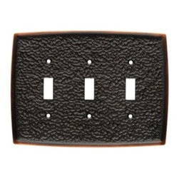 Liberty Hardware - Liberty Hardware 144038 Hammered WP Collection 7.01 Inch Switch Plate - A simple change can make a huge impact on the look and feel of any room. Change out your old wall plates and give any room a brand new feel. Experience the look of a quality Liberty Hardware wall plate. Width - 7.01 Inch, Height - 5.2 Inch, Projection - 0.28 Inch, Finish - Bronze W/Copper Highlights, Weight - 0.94 Lbs.