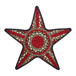 Earth Rugs - C-338 Burgundy/Olive/Charcoal Star Shaped Trivet 19in.x19in. - Burgundy/Olive/Charcoal Star Shaped Trivet 19 in. x19 in.