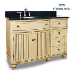"Hardware Resources - Elements Bathroom Vanity - This 48"" wide MDF vanity has simple beadboard doors and curved shape to accent the traditional cottage feel. The Walnut is created by hand, making each vanity unique. A large cabinet, fully functional top drawer fitted around plumbing and offset bank of drawers, equipped with ball bearing slides, provide ample storage. This vanity has a 2CM black granite top preassembled with an H8809WH (15"" x 12"") bowl, cut for 8"" faucet spread, and corresponding 2CM x 4"" tall backsplash. Overall Measurements: 48-1/2"" x 23"" x 35"" (measurements taken from the widest point) - Faucet must be purchased separately"