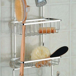 Taymor - Spa Shower Caddy Gift Set - Includes jumbo shower caddy, back brush, nylon poof, nail brush, pumice stone, two hooks and foot file. Wipe clean with soft damp cloth. Do not use any harsh abrasives or chemicals. Holds jumbo sized bottles of shampoo and conditioner. Made from plated steel. Chrome finish. 10.5 in. W x 5 in. D x 22.5 in. H (4.5 lbs.)The Spa Shower Caddy Gift Set from Taymor is a relaxing and comforting gift to give. Anyone would be happy to receive the Spa Shower Caddy Gift Set.